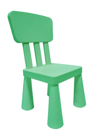 Kid Green Plastic Chair Or Stool Isolated On White Background Stock Photo    43467332