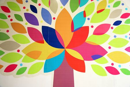 nearness: Colorful leaves and tree on the wall