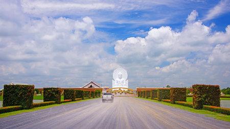 veneration: Path to visit big White Buddha statue in Saraburi, Thailand