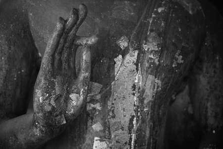 handsign: Hand of old Buddha statue making OK gesture sign