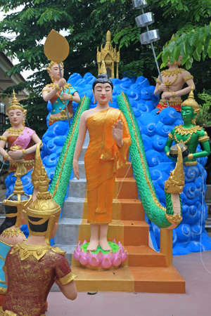 Buddha monument with many gods in wat Bang Chak in Nonthaburi province, Thailand