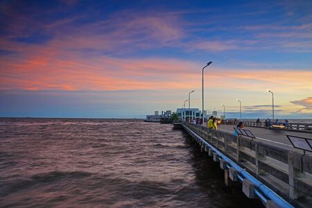 pu: SAMUT PRAKAN, THAILAND - SEPTEMBER 26, 2015: Unidentified people visit Bang Pu at twilight sky to see Seagull and sunset. Here is the most famous landmark in, Samut Prakan.