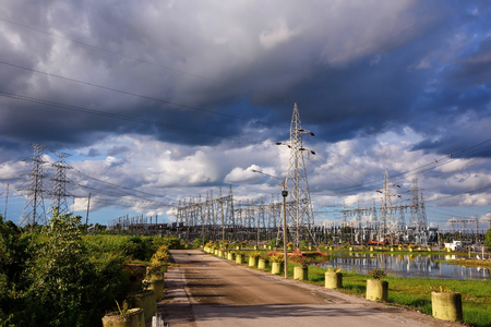 power industry: Electric power substation against dramatic sky and cloud: Power industry Stock Photo