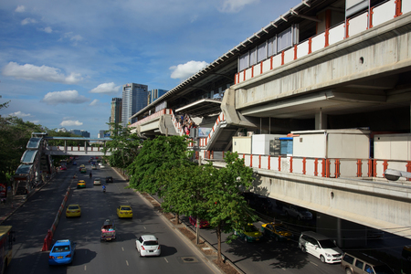 chit: BANGKOK, THAILAND - AUGUST 22, 2015: Moh Chit BTS station. Here is one of 32 BTS skytrain stations covered business, resident, and tourist areas around Bangkok.