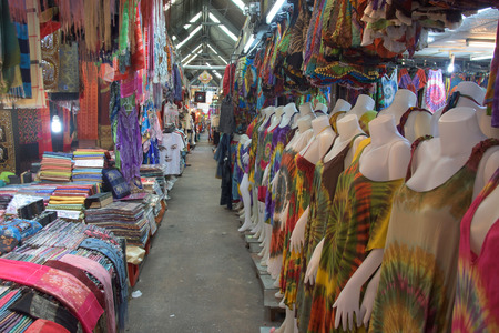 BANGKOK, THAILAND - AUGUST 22, 2015: Clothes for sale at Chatuchak market. Here is the largest weekend market open from 8am to 6pm in Bangkok.