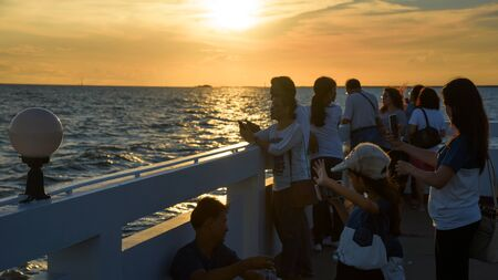 pu: SAMUT PRAKAN, THAILAND - SEPTEMBER 26, 2015, Unidentified people visit Bang Pu to see Seagull and sunset. Here is the most famous landmark in Samut Prakan. Editorial