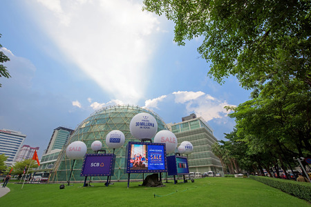 light duty: BANGKOK, THAILAND - OCTOBER17, 2015: King Power duty free shopping mall modern building with ray light. Foreign tourists are able to shop duty free in King Power.