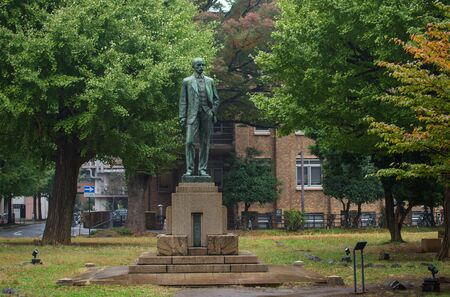 technical department: Josiah Conder statue at University of Tokyo. He, called father of Japanese modern architecture, is British architect designed numerous public buildings