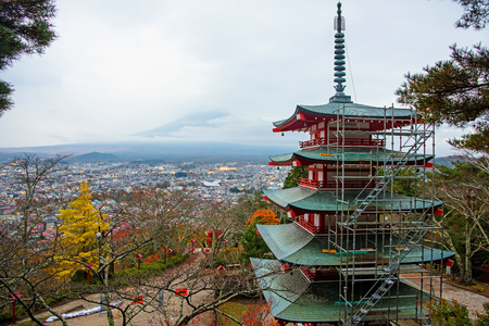 sengen: chureito pagoda with mt. fuji view in autumn, Fujiyoshida, Japan