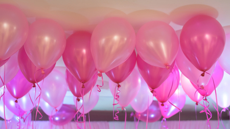 pink balloons: Pink balloons floating, background. party Celebration concept