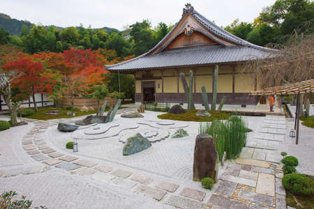 far eastern: Famous stone garden at Enkoji Temple in Kyoto, Japan