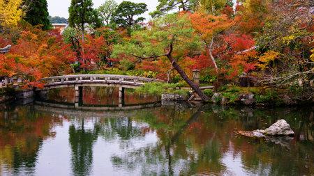 Stone bridge and autumn garden at Eikando Temple in Kyoto, Japan Editorial