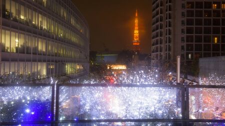 illuminations: Tokyo tower with winter light Illumination from Roppongi Hills, Japan Stock Photo