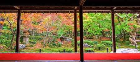 temple tank: Autumn Japanese Garden scenic at Enkoji temple in Kyoto, Japan. Here is the Rinzai Zen Sect, situated in northern Kyoto and very famous during fall colors in Autumn.