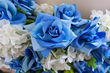 boda pastel: fake blue textile roses bouquet for wedding decoration