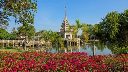 nonthaburi province: Pagoda on the pond with beautiful garden at Chalerm Prakiat park in Nonthaburi province, Thailand