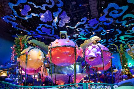 TOKYO, JAPAN- NOVEMBER 08, 2015: view of Mermaid Lagoon Interior at Tokyo Disney Sea, opened in 2001 with 176 acres area.