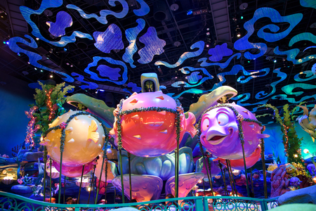 TOKYO, JAPAN- NOVEMBER 08, 2015: view of Mermaid Lagoon Interior at Tokyo Disney Sea, opened in 2001 with 176 acres area.