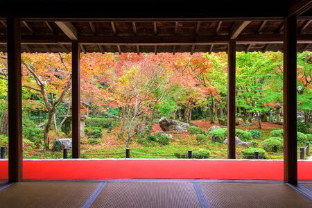 temple tank: Autumn foliage at Enkoji temple in Kyoto, Japan. Here is the Rinzai Zen Sect, situated in northern Kyoto and very famous during fall colors in Autumn.