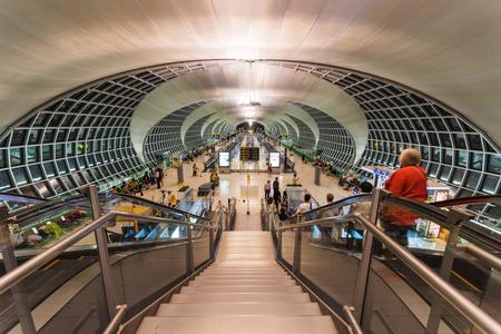 BANGKOK, THAILAND - APRIL 20, 2016: unidentified people at Suvarnabhumi International Airport terminal. Here is 1of 2 international airports located in Bangkok.
