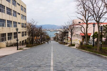 prominence: Hakodate, Hachiman zaka slope at Motomachi district, Japan. Here is the famous landmark in Hakodate.