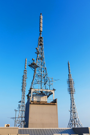 3g: antenna repeater, sattelite, 3g, 4g tower on blue sky