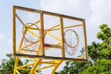 weird: Outdoor basketball two hoops, weird sport style Stock Photo