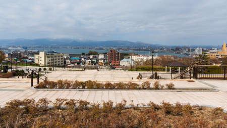 prominence: Motomachi park with Hakodate cityscape view, Hokkaido, Japan