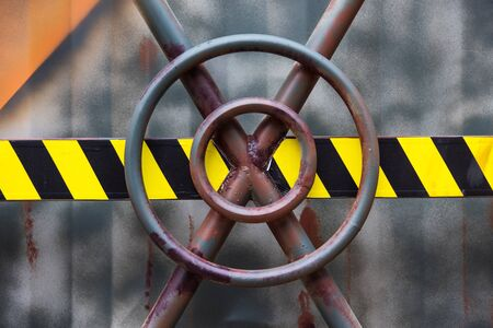 trade off: Closed door of Iron container, Industry concept