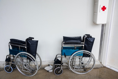 aide: Photo of two wheelchairs at first aid location