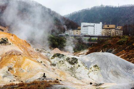 Jigokudani Hell valley and Onsen hotel in Noboribetsu, Hokkaido, Japan