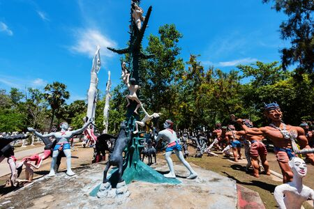 exquisite fairy: Thai Ghost (Hungry ghost to demonstrate people punished for bad sin) and dead god at Wat Phai Rong Wua, Suphanburi, Thailand Editorial