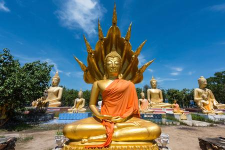 clergyman: Buddha statues against blue sky at Wat Phai Rong Wua, Suphanburi, Thailand