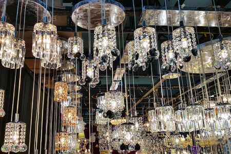 home lighting: modern Chandelier ceiling lighting for luxury home interior decoration Stock Photo