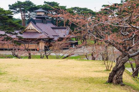oficina antigua: castillo hakodate o ex magistrado Oficina con el árbol de Sakura en Goryokaku Park, Hokkaido, Japón