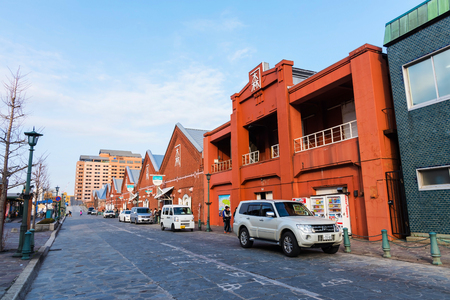 HAKODATE, JAPAN - APRIL 22, 2016 : historical red-brick warehouses located at Hakodate bay area. Hakodate city is the southernmost port city of Hokkaido Island, Japan.