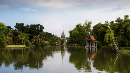 Chalerm Prakiat park with reflection in Nonthaburi province, Thailand