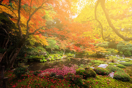 autumn garden against sunset light at Nanzen-ji temple, Kyoto, Japan Stock Photo