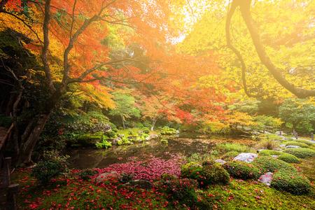Giardino d'autunno contro la luce del tramonto al tempio Nanzen-ji, Kyoto, Giappone Archivio Fotografico - 70632500