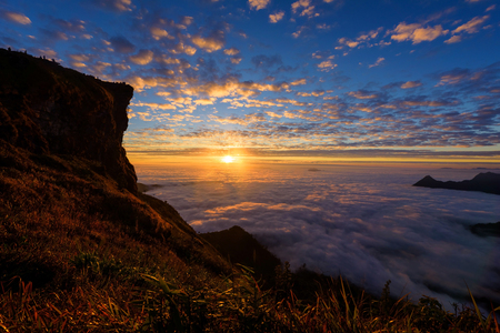 Sunrise view at Phu chi fa or pu chee fah in Chiang Rai, Thailand
