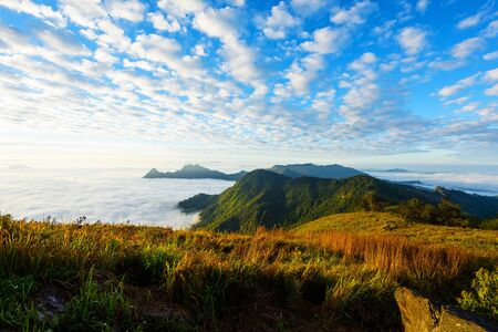 fa: mountain and cloudscape in the morning at Phu chi fa or Pu Chee Fah, in Chiangrai,Thailand