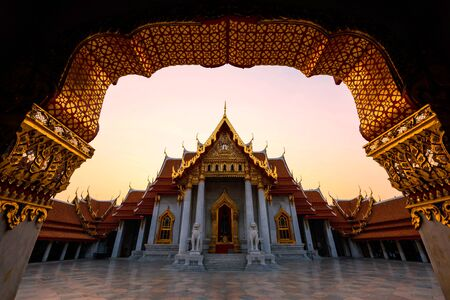 Marble Temple or wat Benchamabophit with twilight sky, Bangkok, Thailand