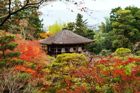 Silver Pavilion, Ginkakuji temple by top view with explosion zoom affect, Kyoto, Japan Editorial