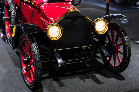 Antique red American automobile car for motor show