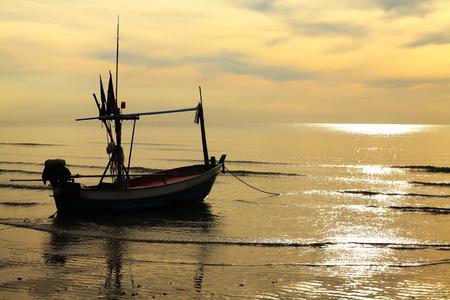 hua: Fishing boat at sunset in Hua Hin, Thailand Stock Photo