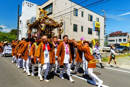 hojo: ODAWARA, JAPAN - MAY 05, 2017: Unidentified Japanese people parade portable shrines in town. This is local  festival tributed to Hojo Soun, brave warlord in the 16 century.