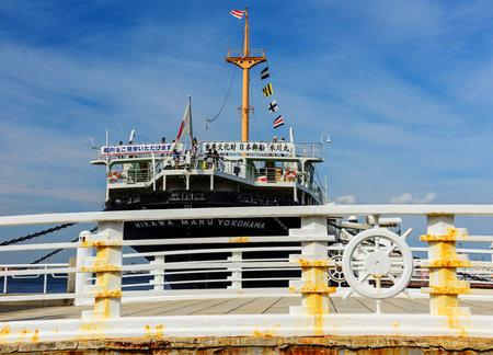 YOKOHAMA, JAPAN - MAY 6, 2017: Bridge near Hikawa Maru ship at Yamashita Park in Yokohama port.