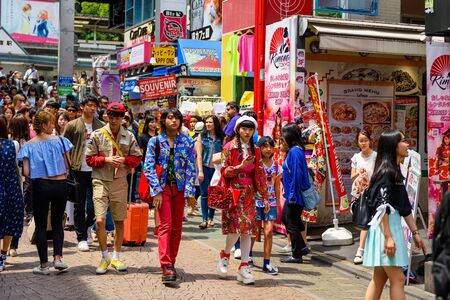 TOKYO, JAPAN - MAY 7, 2017:  Unidentified Japanese teenagers with unique contumes at Takeshita street in Harajuku, famous of Japanese cosplay street fashion every Sunday. Editorial