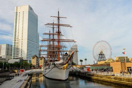 YOKOHAMA, JAPAN - MAY 6, 2017: ship museum of Nippon Maru Memorial Park in Minato Mirai waterfront district.
