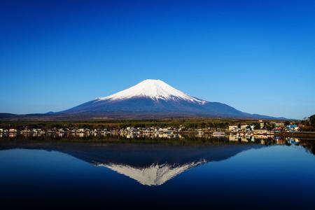 kawaguchi ko: Mt. Fuji or Fujisan with skyline reflection from Yamanaka lake